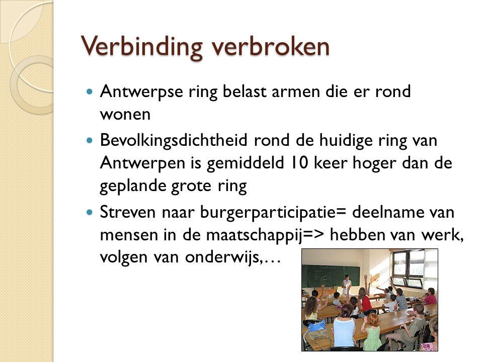 Verbinding verbroken Antwerpse ring belast armen die er rond wonen Bevolkingsdichtheid rond de huidige ring van Antwerpen is gemiddeld 10 keer hoger d