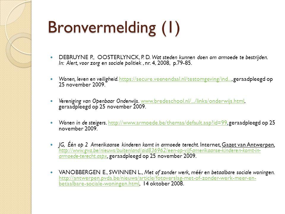 Bronvermelding (1) DEBRUYNE P., OOSTERLYNCK, P. D.