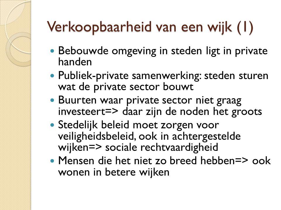 Verkoopbaarheid van een wijk (1) Bebouwde omgeving in steden ligt in private handen Publiek-private samenwerking: steden sturen wat de private sector