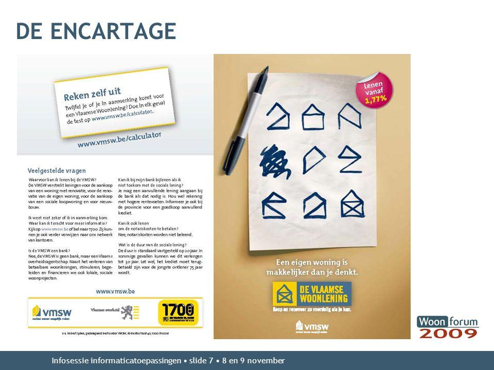 DE ENCARTAGE Infosessie informaticatoepassingen slide 7 8 en 9 november