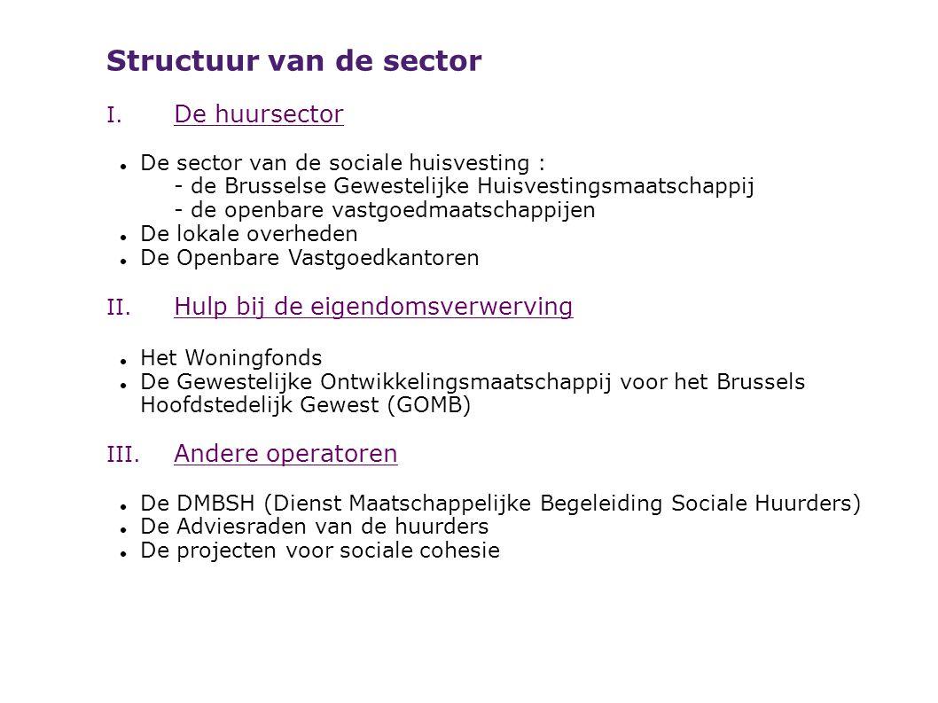 Structuur van de sector I. De huursector De sector van de sociale huisvesting : - de Brusselse Gewestelijke Huisvestingsmaatschappij - de openbare vas