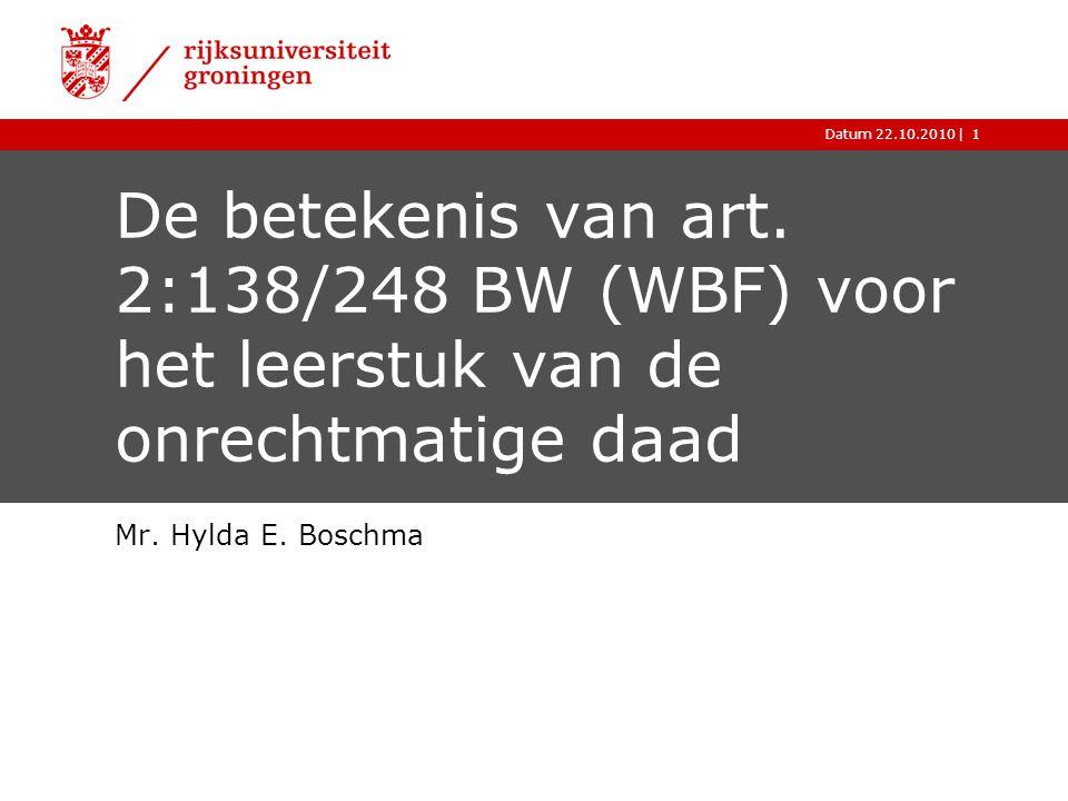 |Datum 22.10.20101 De betekenis van art. 2:138/248 BW (WBF) voor het leerstuk van de onrechtmatige daad Mr. Hylda E. Boschma