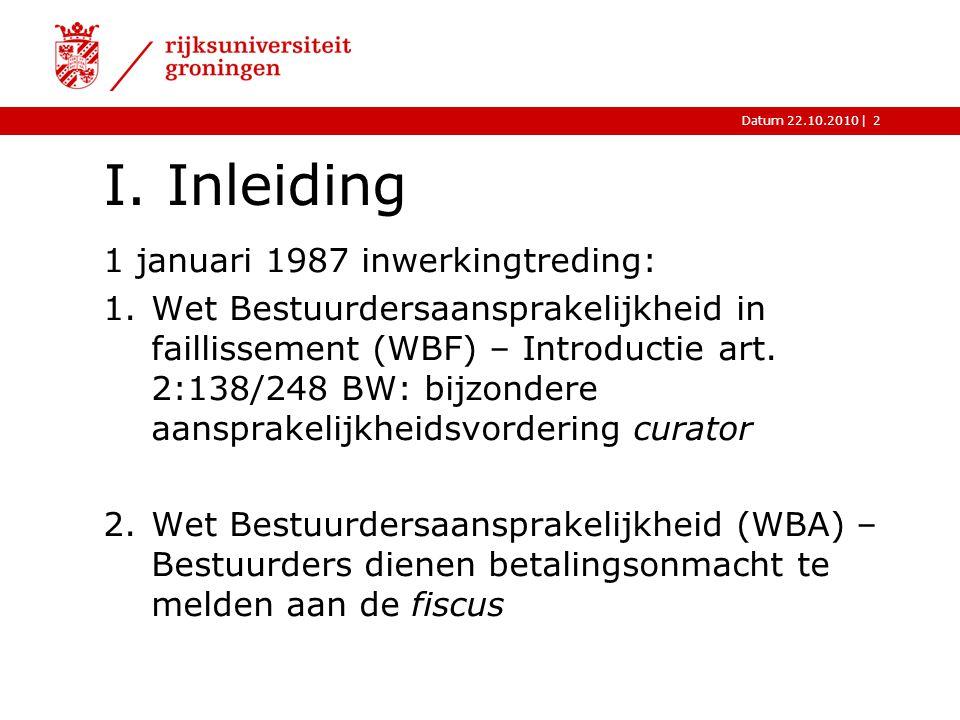 |Datum 22.10.20102 I. Inleiding 1 januari 1987 inwerkingtreding: 1.Wet Bestuurdersaansprakelijkheid in faillissement (WBF) – Introductie art. 2:138/24