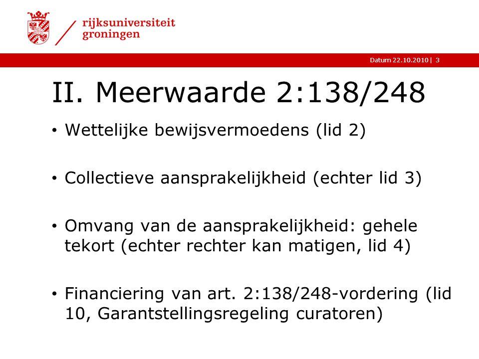 |Datum 22.10.2010 II. Meerwaarde 2:138/248 Wettelijke bewijsvermoedens (lid 2) Collectieve aansprakelijkheid (echter lid 3) Omvang van de aansprakelij