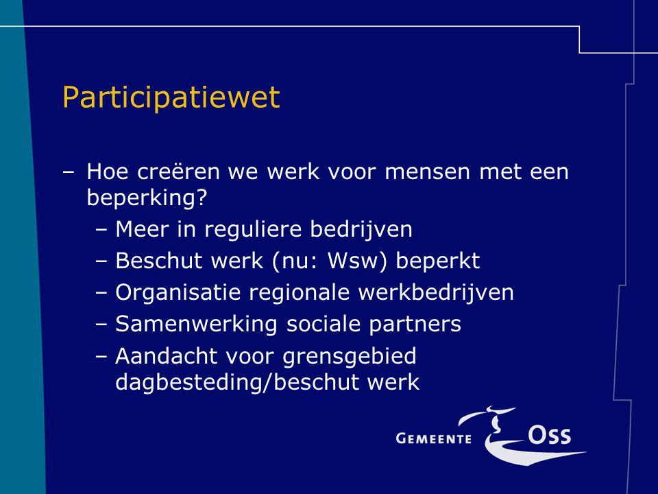 Participatiewet –Hoe creëren we werk voor mensen met een beperking? –Meer in reguliere bedrijven –Beschut werk (nu: Wsw) beperkt –Organisatie regional