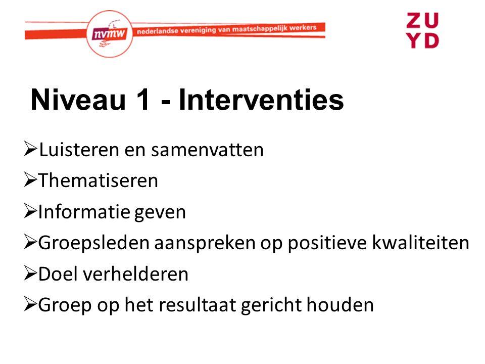 Niveau 1 - Interventies  Luisteren en samenvatten  Thematiseren  Informatie geven  Groepsleden aanspreken op positieve kwaliteiten  Doel verhelderen  Groep op het resultaat gericht houden