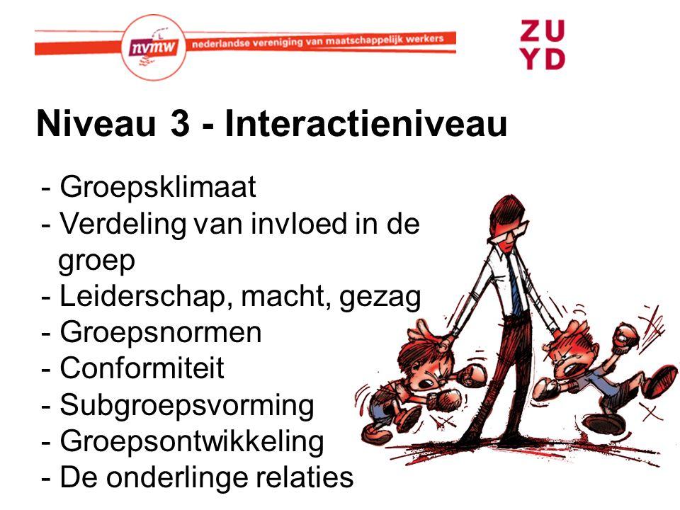 Niveau 3 - Interactieniveau - Groepsklimaat - Verdeling van invloed in de groep - Leiderschap, macht, gezag - Groepsnormen - Conformiteit - Subgroepsvorming - Groepsontwikkeling - De onderlinge relaties