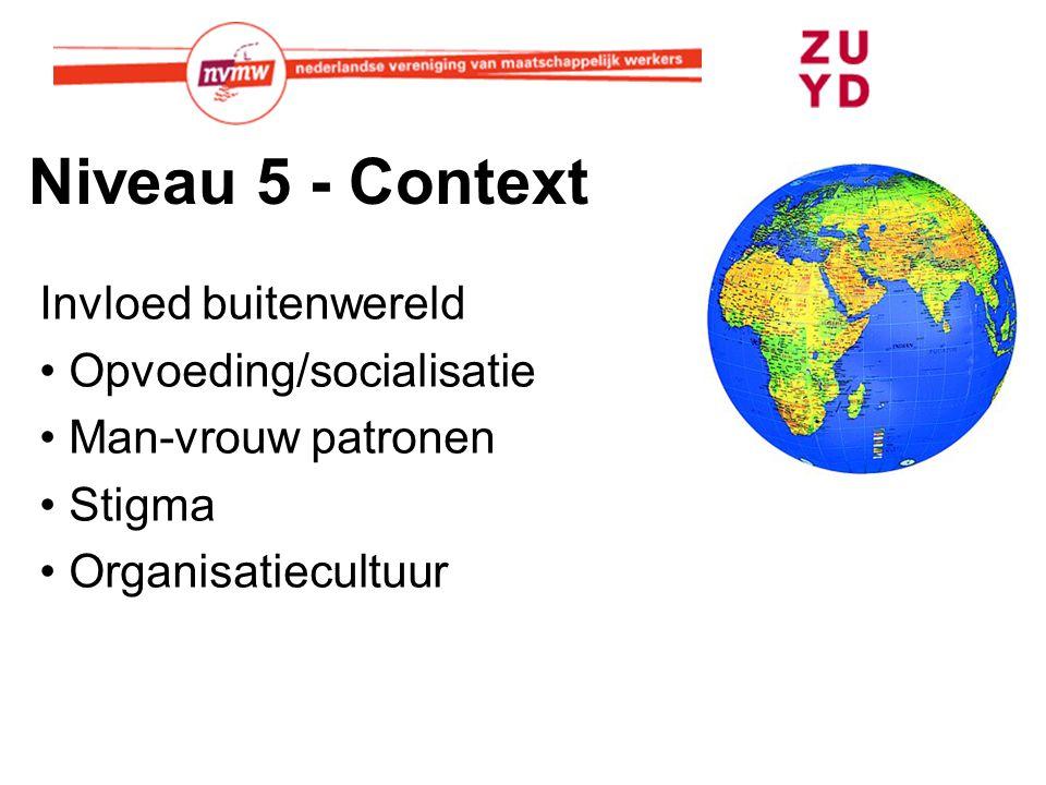 Niveau 5 - Context Invloed buitenwereld Opvoeding/socialisatie Man-vrouw patronen Stigma Organisatiecultuur