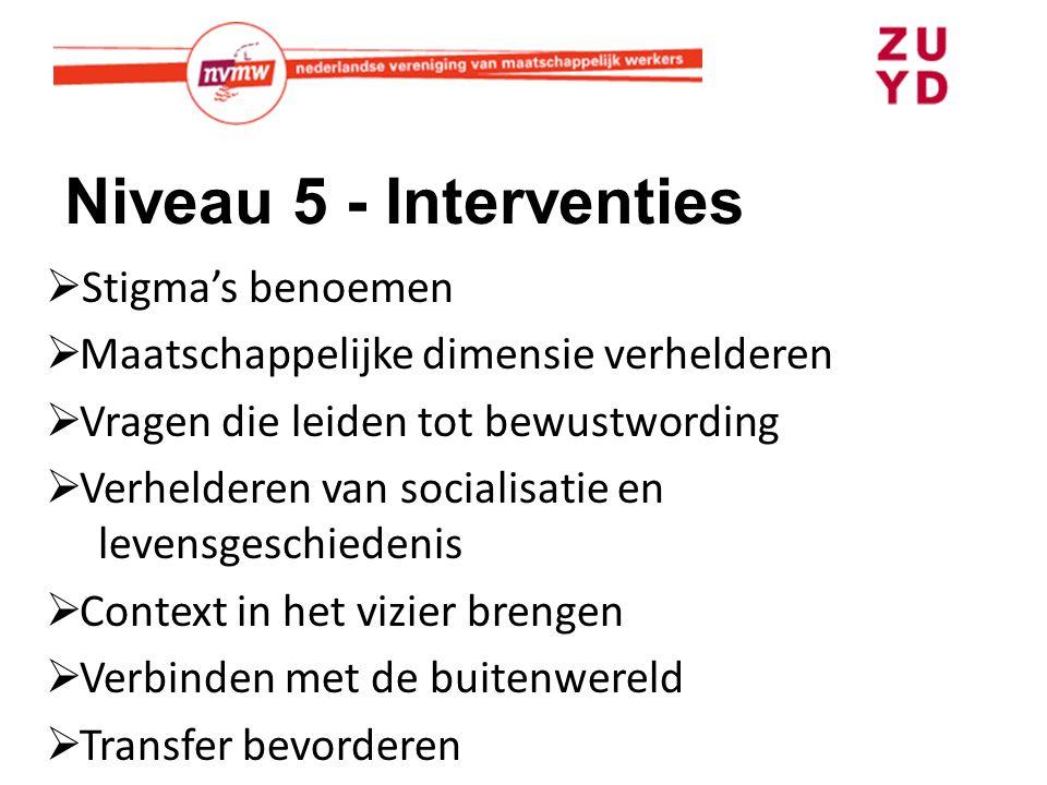 Niveau 5 - Interventies  Stigma's benoemen  Maatschappelijke dimensie verhelderen  Vragen die leiden tot bewustwording  Verhelderen van socialisatie en levensgeschiedenis  Context in het vizier brengen  Verbinden met de buitenwereld  Transfer bevorderen