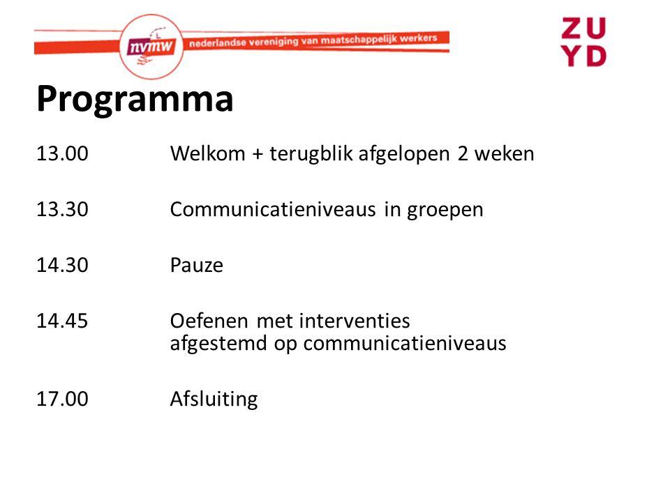 Programma 13.00Welkom + terugblik afgelopen 2 weken 13.30Communicatieniveaus in groepen 14.30 Pauze 14.45Oefenen met interventies afgestemd op communicatieniveaus 17.00Afsluiting