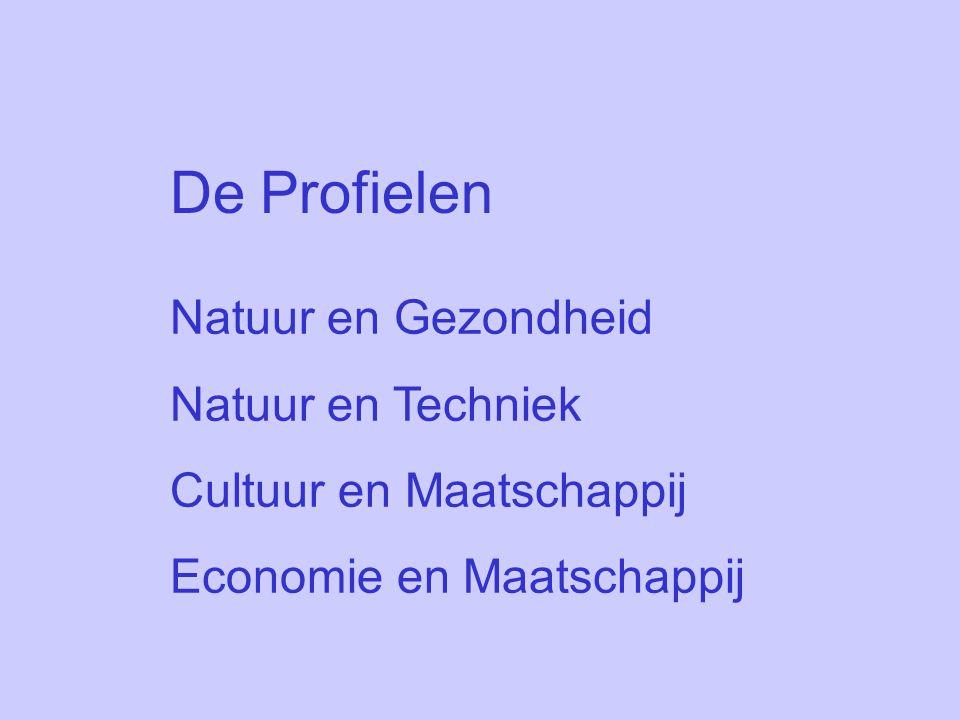 De Profielen Natuur en Gezondheid Natuur en Techniek Cultuur en Maatschappij Economie en Maatschappij