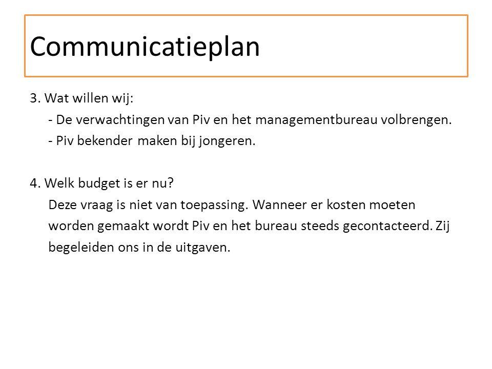 3. Wat willen wij: - De verwachtingen van Piv en het managementbureau volbrengen.
