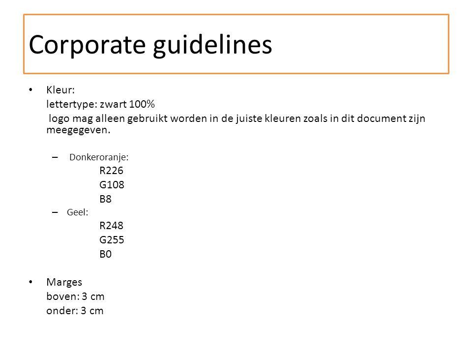 Kleur: lettertype: zwart 100% logo mag alleen gebruikt worden in de juiste kleuren zoals in dit document zijn meegegeven.