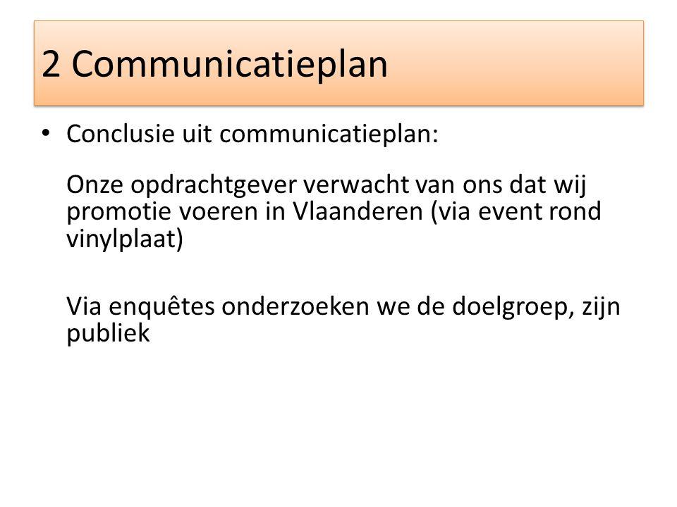 2 Communicatieplan Conclusie uit communicatieplan: Onze opdrachtgever verwacht van ons dat wij promotie voeren in Vlaanderen (via event rond vinylplaat) Via enquêtes onderzoeken we de doelgroep, zijn publiek