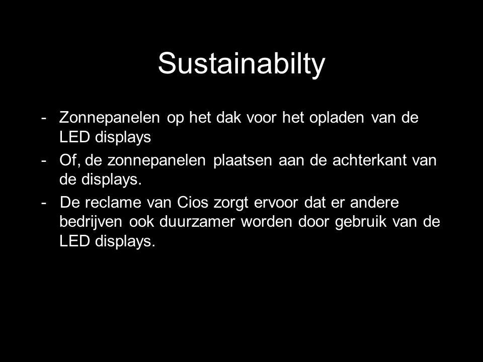 Sustainabilty -Zonnepanelen op het dak voor het opladen van de LED displays -Of, de zonnepanelen plaatsen aan de achterkant van de displays. - De recl