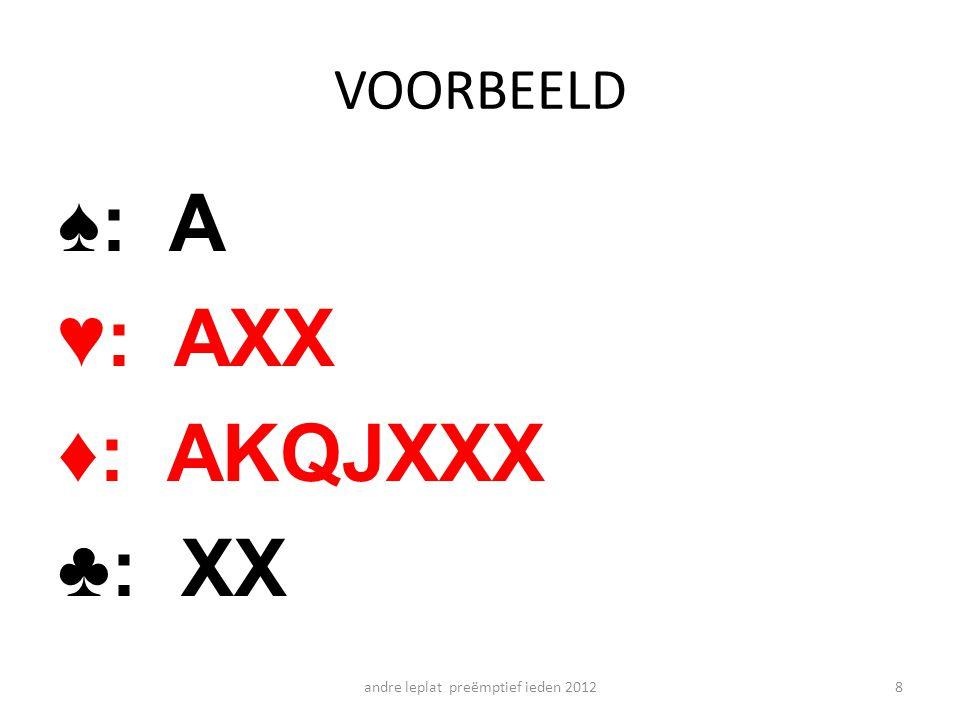 VOORBEELD ♠: A ♥: AXX ♦: AKQJXXX ♣: XX andre leplat preëmptief ieden 20128