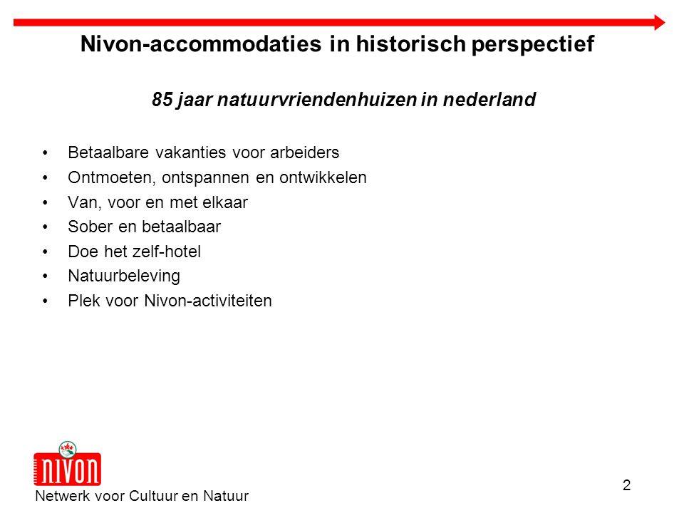 Netwerk voor Cultuur en Natuur 2 Nivon-accommodaties in historisch perspectief 85 jaar natuurvriendenhuizen in nederland Betaalbare vakanties voor arb