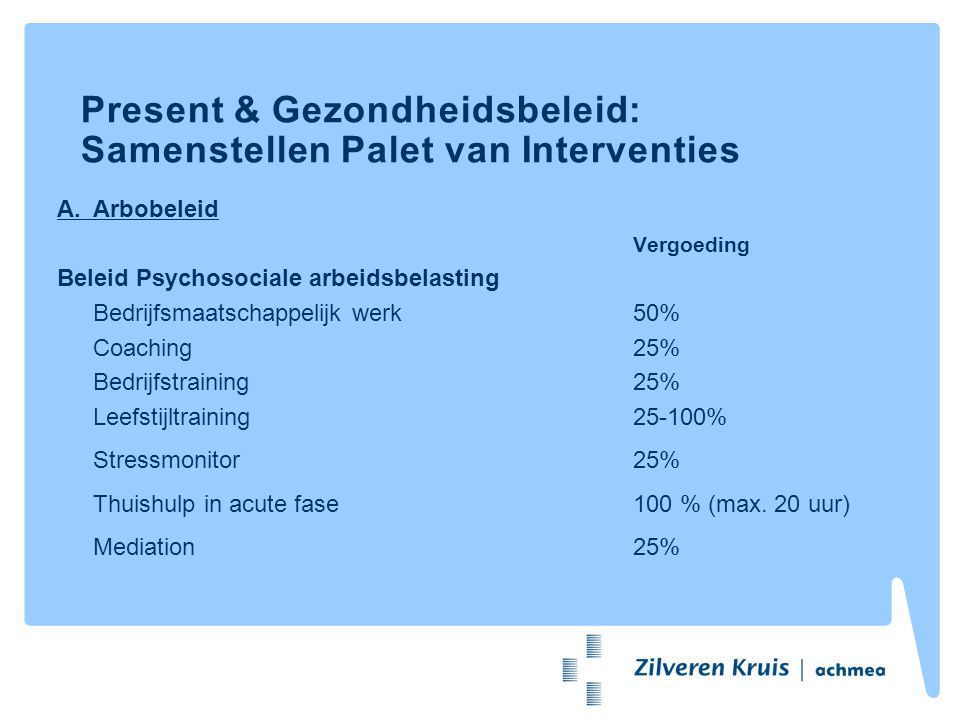 Present & Gezondheidsbeleid: Samenstellen Palet van Interventies A.Arbobeleid Vergoeding Beleid Psychosociale arbeidsbelasting Bedrijfsmaatschappelijk