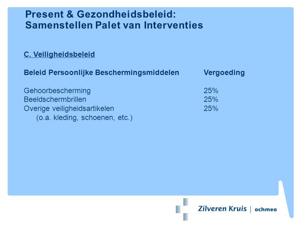 Present & Gezondheidsbeleid: Samenstellen Palet van Interventies C. Veiligheidsbeleid Beleid Persoonlijke BeschermingsmiddelenVergoeding Gehoorbescher