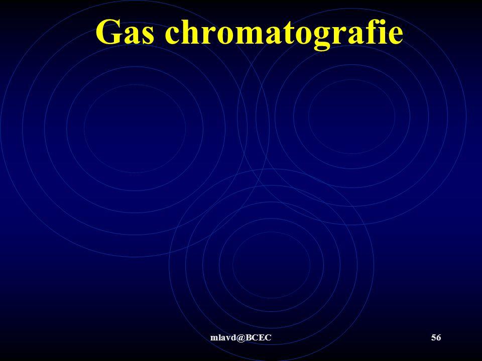 mlavd@BCEC55 Gas chromatografie Aan het eind van de scheiding wordt er dan gemeten hoeveel er van een stof aanwezig is. Dit kan of-line maar ook on-li