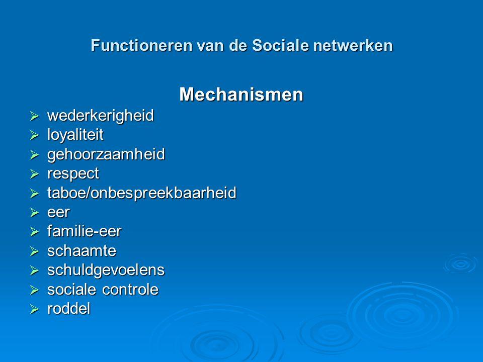 Functioneren van de Sociale netwerken Mechanismen  wederkerigheid  loyaliteit  gehoorzaamheid  respect  taboe/onbespreekbaarheid  eer  familie-eer  schaamte  schuldgevoelens  sociale controle  roddel