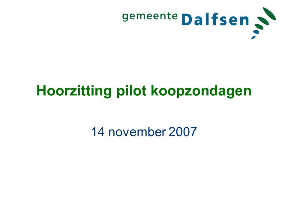 Hoorzitting pilot koopzondagen 14 november 2007