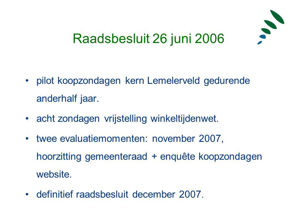 Raadsbesluit 26 juni 2006 pilot koopzondagen kern Lemelerveld gedurende anderhalf jaar. acht zondagen vrijstelling winkeltijdenwet. twee evaluatiemome