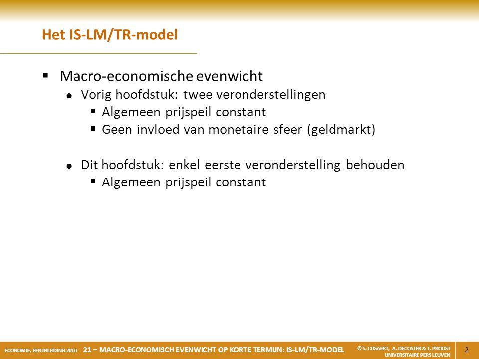 2 ECONOMIE, EEN INLEIDING 2010 21 – MACRO-ECONOMISCH EVENWICHT OP KORTE TERMIJN: IS-LM/TR-MODEL © S. COSAERT, A. DECOSTER & T. PROOST UNIVERSITAIRE PE