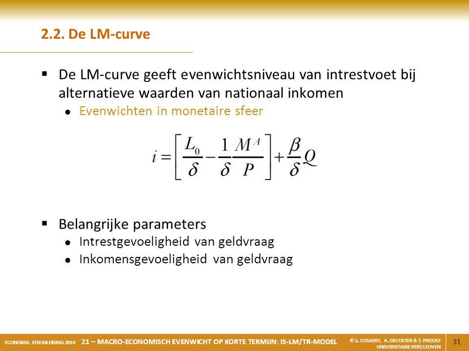 31 ECONOMIE, EEN INLEIDING 2010 21 – MACRO-ECONOMISCH EVENWICHT OP KORTE TERMIJN: IS-LM/TR-MODEL © S. COSAERT, A. DECOSTER & T. PROOST UNIVERSITAIRE P