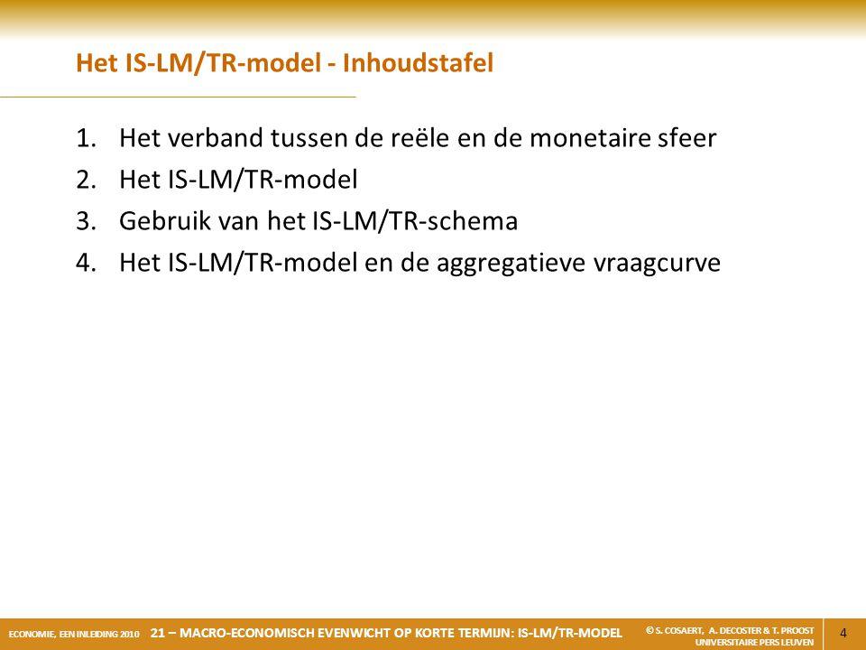 15 ECONOMIE, EEN INLEIDING 2010 21 – MACRO-ECONOMISCH EVENWICHT OP KORTE TERMIJN: IS-LM/TR-MODEL © S.