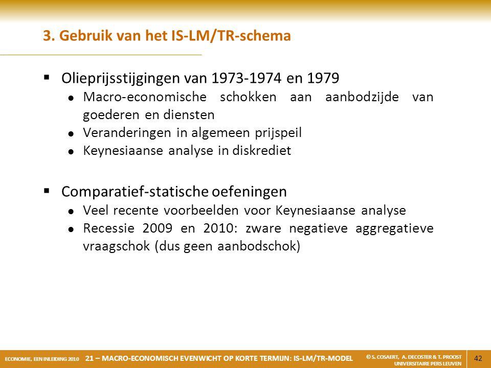 42 ECONOMIE, EEN INLEIDING 2010 21 – MACRO-ECONOMISCH EVENWICHT OP KORTE TERMIJN: IS-LM/TR-MODEL © S. COSAERT, A. DECOSTER & T. PROOST UNIVERSITAIRE P