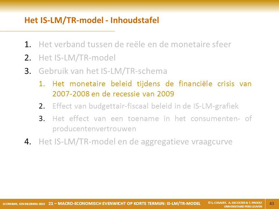 43 ECONOMIE, EEN INLEIDING 2010 21 – MACRO-ECONOMISCH EVENWICHT OP KORTE TERMIJN: IS-LM/TR-MODEL © S. COSAERT, A. DECOSTER & T. PROOST UNIVERSITAIRE P