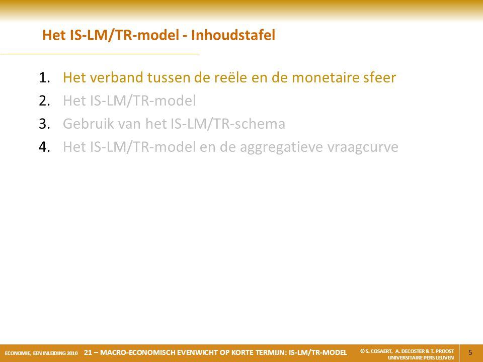 16 ECONOMIE, EEN INLEIDING 2010 21 – MACRO-ECONOMISCH EVENWICHT OP KORTE TERMIJN: IS-LM/TR-MODEL © S.
