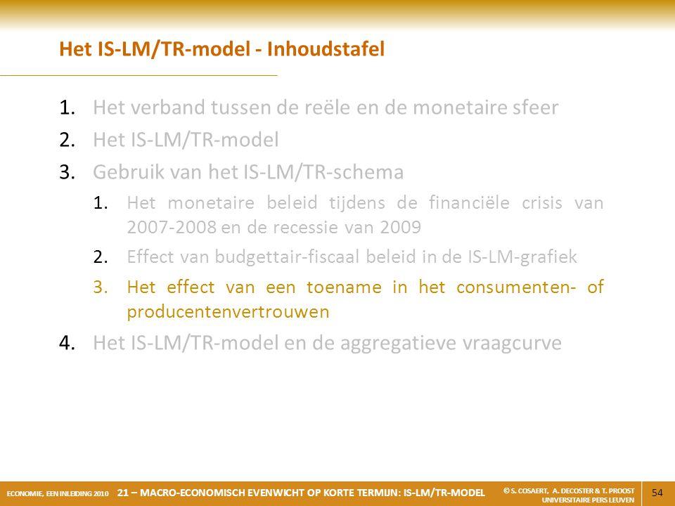 54 ECONOMIE, EEN INLEIDING 2010 21 – MACRO-ECONOMISCH EVENWICHT OP KORTE TERMIJN: IS-LM/TR-MODEL © S. COSAERT, A. DECOSTER & T. PROOST UNIVERSITAIRE P