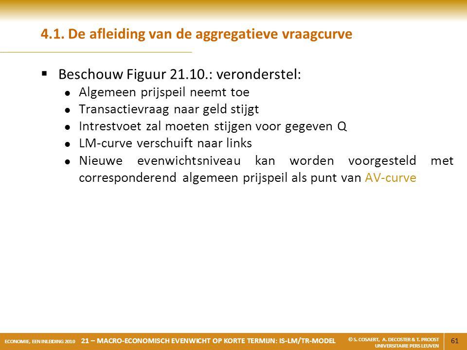 61 ECONOMIE, EEN INLEIDING 2010 21 – MACRO-ECONOMISCH EVENWICHT OP KORTE TERMIJN: IS-LM/TR-MODEL © S. COSAERT, A. DECOSTER & T. PROOST UNIVERSITAIRE P