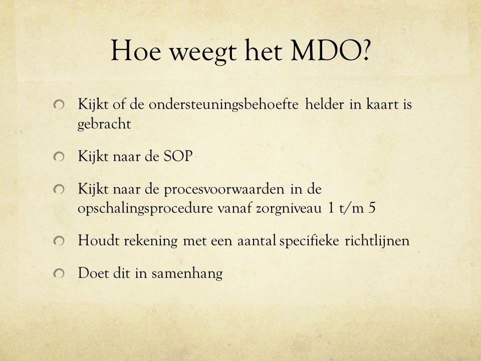 Hoe weegt het MDO? Kijkt of de ondersteuningsbehoefte helder in kaart is gebracht Kijkt naar de SOP Kijkt naar de procesvoorwaarden in de opschalingsp