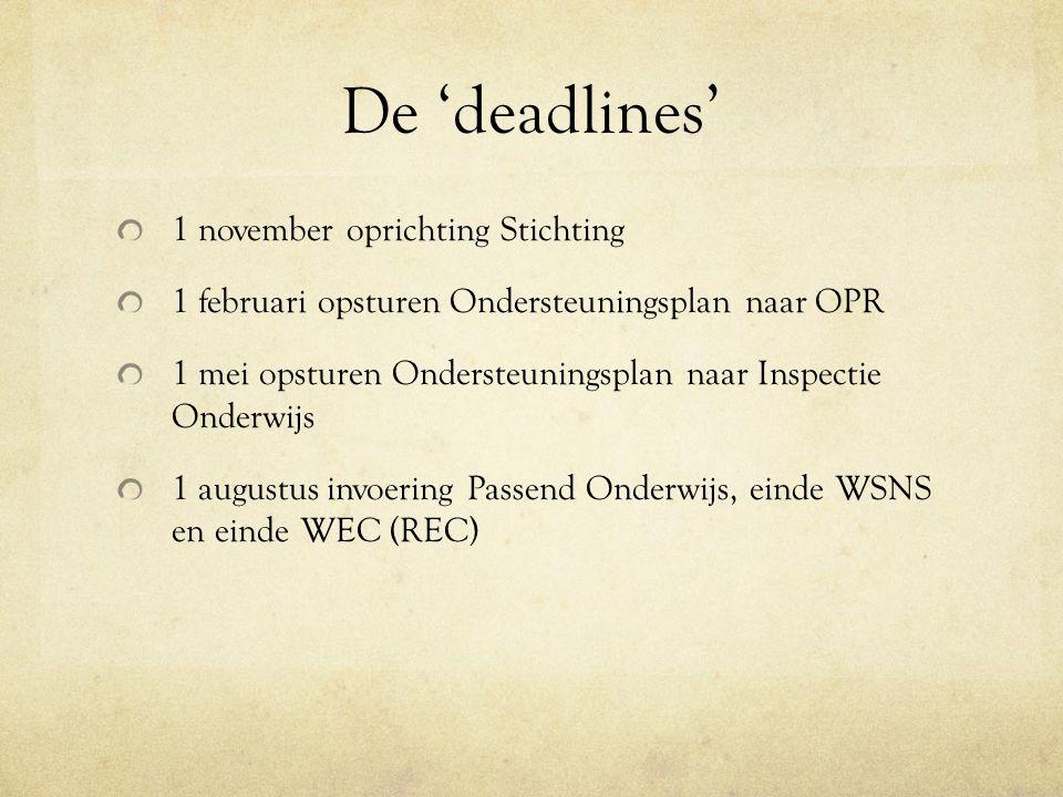 De 'deadlines' 1 november oprichting Stichting 1 februari opsturen Ondersteuningsplan naar OPR 1 mei opsturen Ondersteuningsplan naar Inspectie Onderw