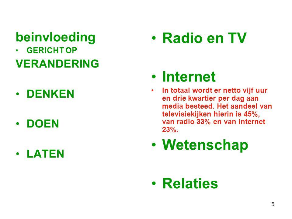 5 beinvloeding GERICHT OP VERANDERING DENKEN DOEN LATEN Radio en TV Internet In totaal wordt er netto vijf uur en drie kwartier per dag aan media besteed.