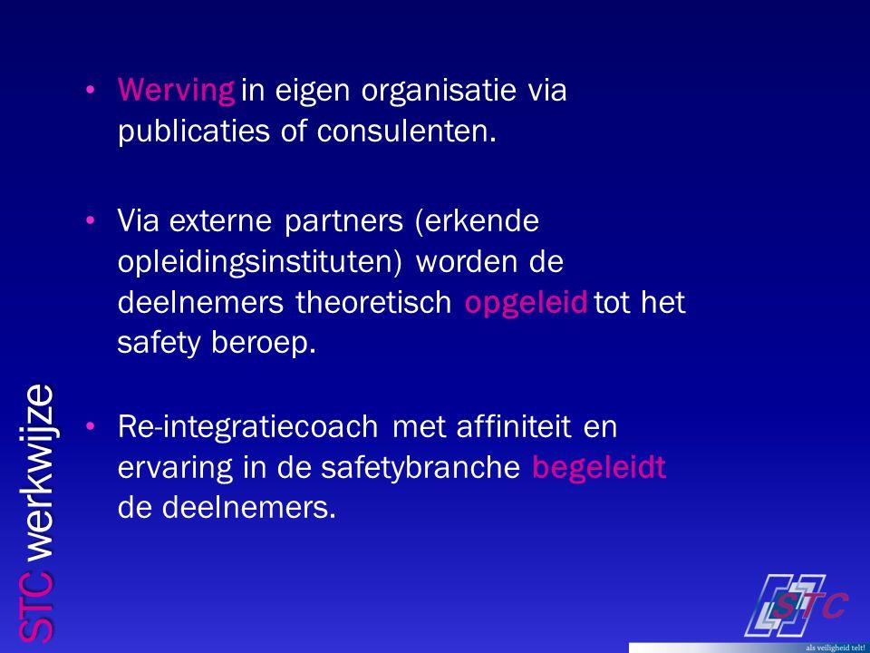 STC werkwijze Werving in eigen organisatie via publicaties of consulenten.