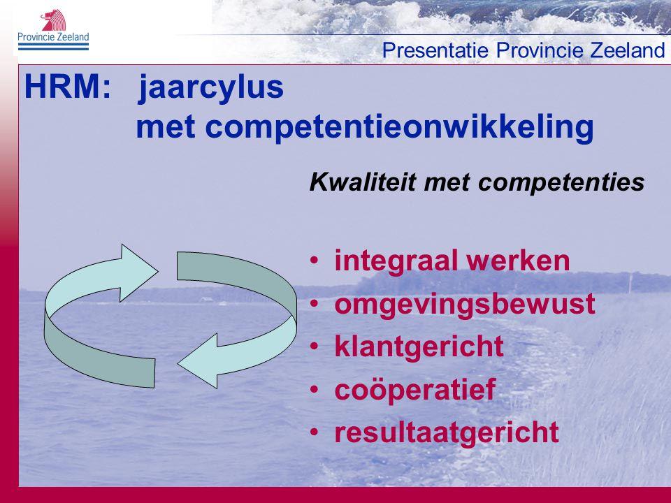 Presentatie Provincie Zeeland HRM: jaarcylus met competentieonwikkeling Kwaliteit met competenties integraal werken omgevingsbewust klantgericht coöpe