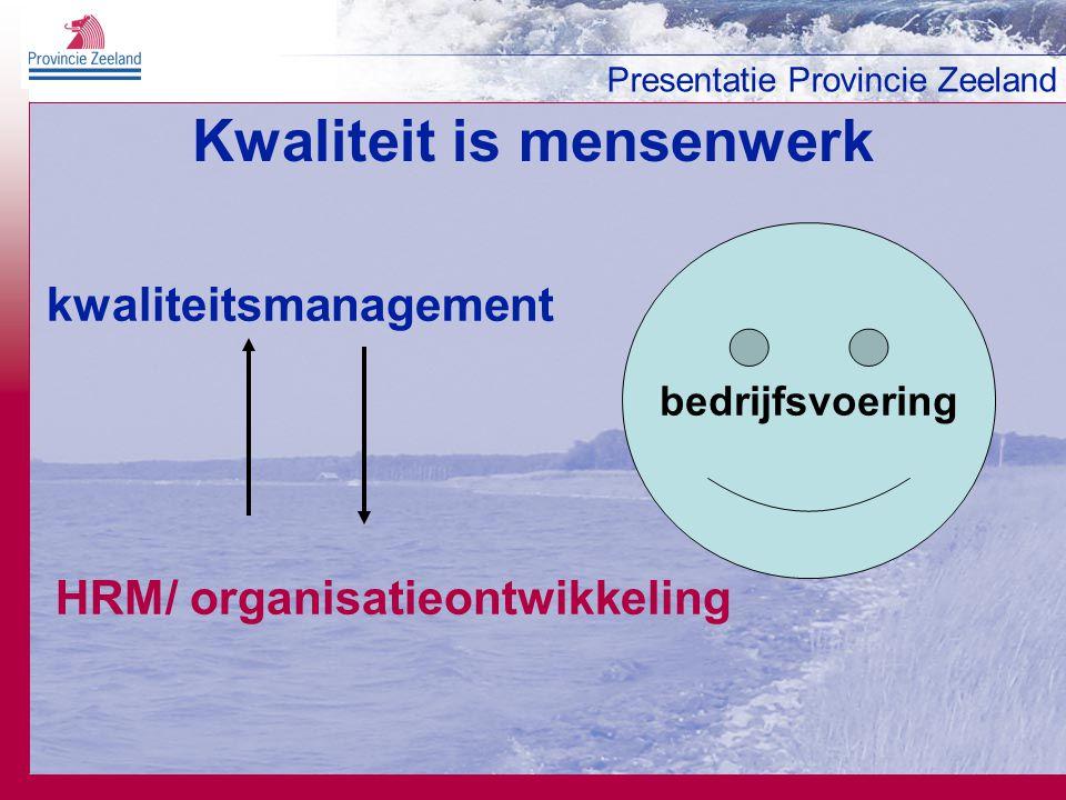 Presentatie Provincie Zeeland Kwaliteit staat niet op zichzelf organisatie & management medewerker klant kwaliteit resultaten competenties afspraken planning wensen waardering