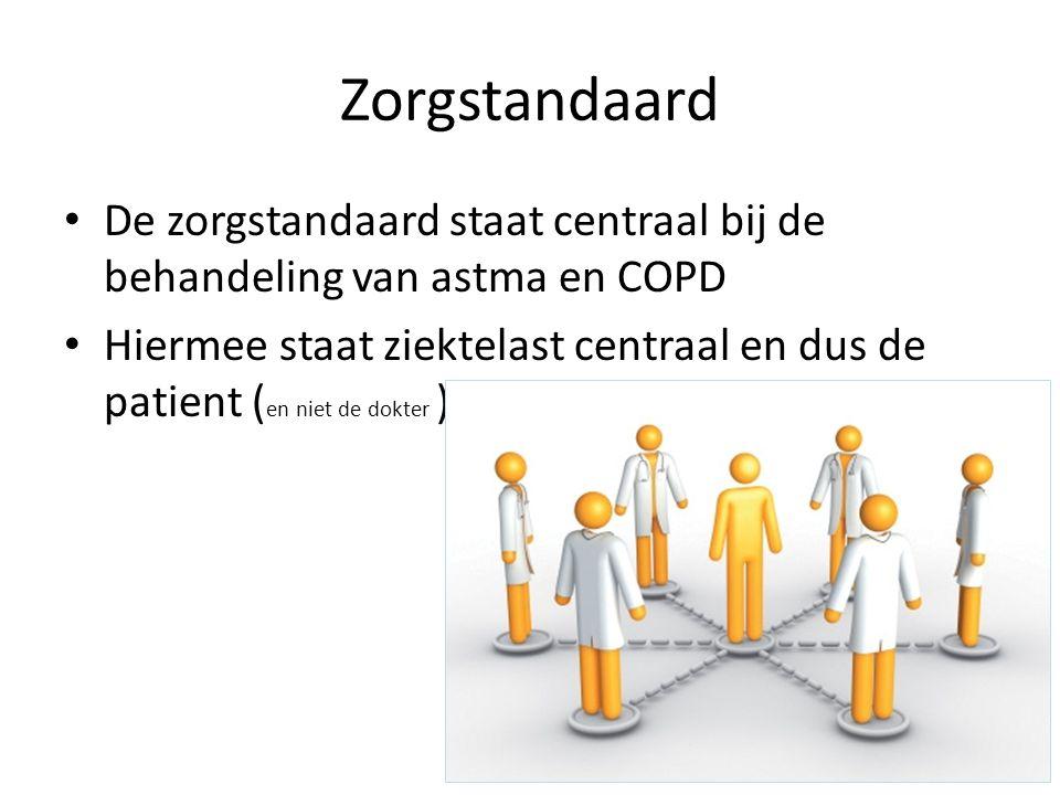 Zorgstandaard De zorgstandaard staat centraal bij de behandeling van astma en COPD Hiermee staat ziektelast centraal en dus de patient ( en niet de do