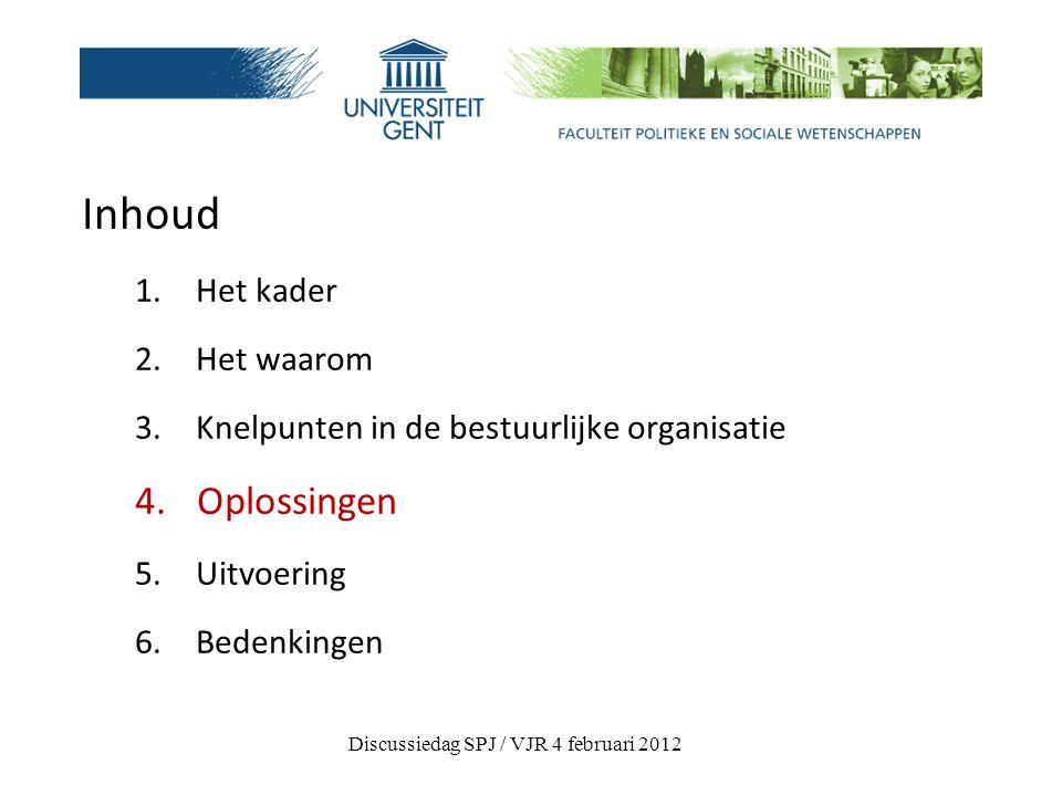 Inhoud 1. Het kader 2. Het waarom 3. Knelpunten in de bestuurlijke organisatie 4.