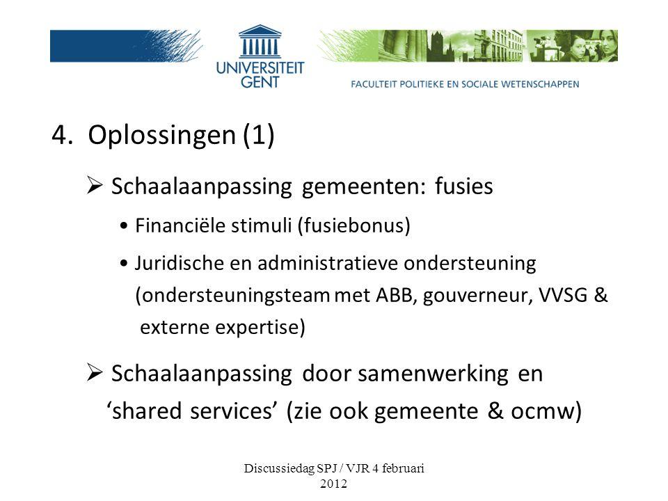 4. Oplossingen (1)  Schaalaanpassing gemeenten: fusies Financiële stimuli (fusiebonus) Juridische en administratieve ondersteuning (ondersteuningstea