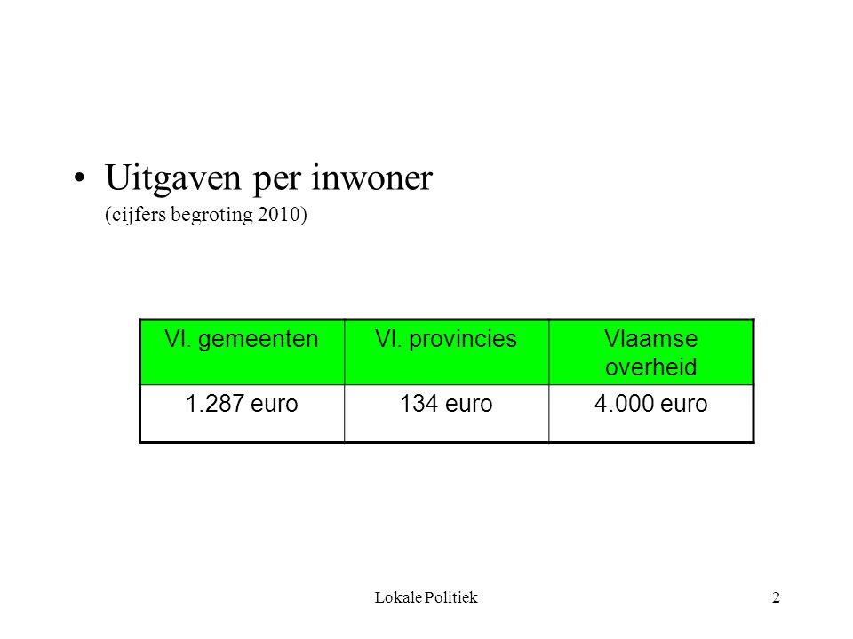 Lokale Politiek2 Uitgaven per inwoner (cijfers begroting 2010) Vl.