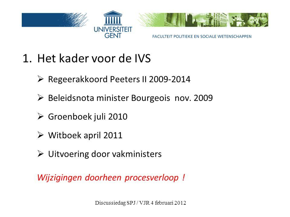 1. Het kader voor de IVS  Regeerakkoord Peeters II 2009-2014  Beleidsnota minister Bourgeois nov.
