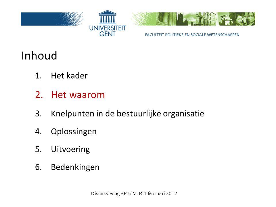 Inhoud 1.Het kader 2. Het waarom 3. Knelpunten in de bestuurlijke organisatie 4.