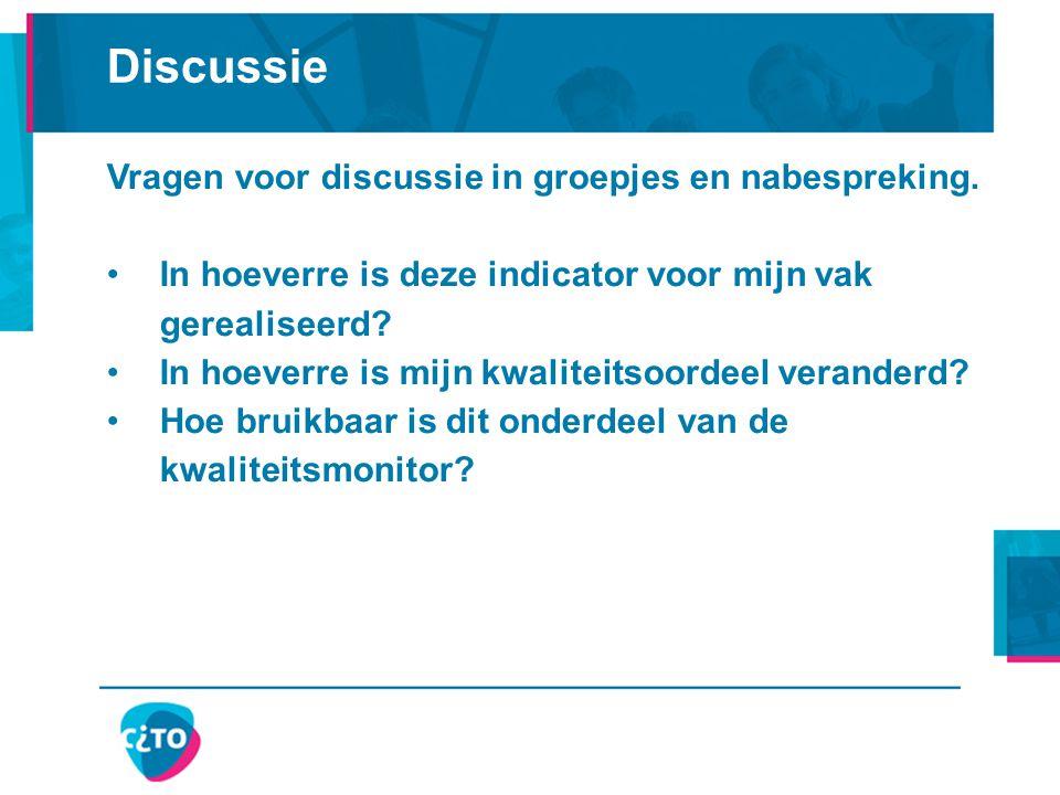 Discussie Vragen voor discussie in groepjes en nabespreking. In hoeverre is deze indicator voor mijn vak gerealiseerd? In hoeverre is mijn kwaliteitso