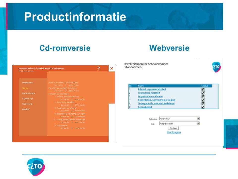 Productinformatie Cd-romversie Webversie
