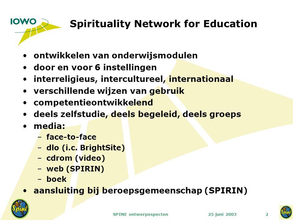 25 juni 2003SPINE ontwerpaspecten2 Spirituality Network for Education ontwikkelen van onderwijsmodulen door en voor 6 instellingen interreligieus, intercultureel, internationaal verschillende wijzen van gebruik competentieontwikkelend deels zelfstudie, deels begeleid, deels groeps media: –face-to-face –dlo (i.c.
